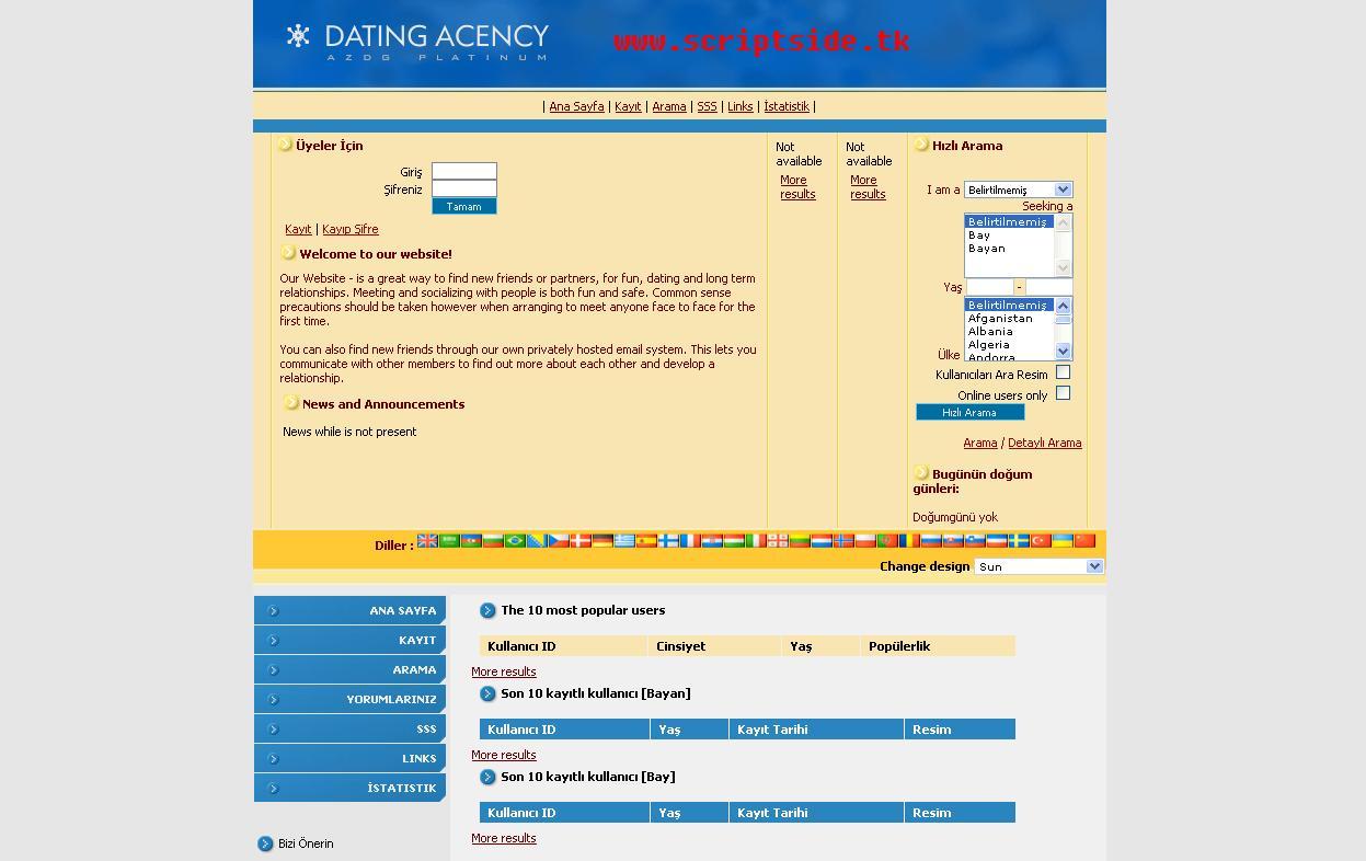 AzDGDating v2.0 Arkadaşlık Scripti Demo