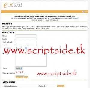eTicket 1.7.3 Online Destek Scripti Demo