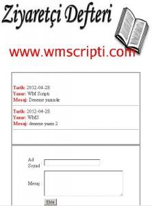 Basit Ziyaretçi Defteri Scripti Görseli