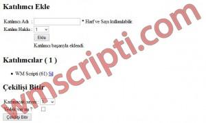 PHP Basit Çekiliş Scripti Demo