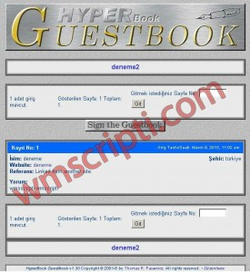 Hyperbook v1.30 Ziyaretçi Defteri Scripti Görseli