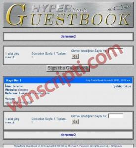 Hyperbook v1.30 Ziyaretçi Defteri Scripti Demo