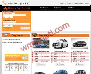 Rent A Car, Araç Kiralama Scripti Demo